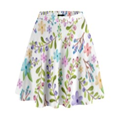 Twigs And Floral Pattern High Waist Skirt by Coelfen