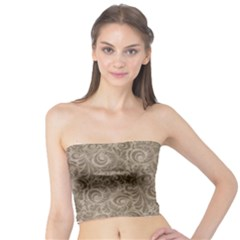 Brown Romantic Flower Pattern Tube Top by Ivana