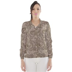 Brown Romantic Flower Pattern Wind Breaker (women) by Ivana