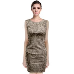 Brown Romantic Flower Pattern Sleeveless Velvet Midi Dress by Ivana