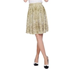 Gold Romantic Flower Pattern A Line Skirt by Ivana