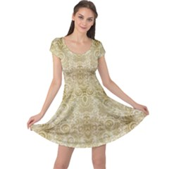 Gold Romantic Flower Pattern Cap Sleeve Dresses by Ivana