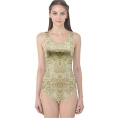 Gold Romantic Flower Pattern One Piece Swimsuit by Ivana