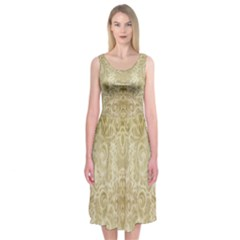 Gold Romantic Flower Pattern Midi Sleeveless Dress by Ivana