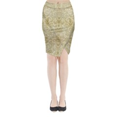 Gold Romantic Flower Pattern Midi Wrap Pencil Skirt by Ivana