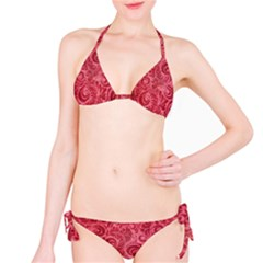 Red Romantic Flower Pattern Bikini Set by Ivana