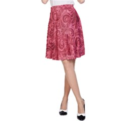Red Romantic Flower Pattern A Line Skirt by Ivana