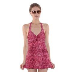 Red Romantic Flower Pattern Halter Swimsuit Dress by Ivana