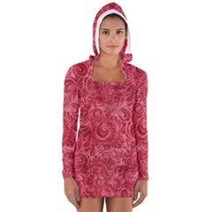 Red Romantic Flower Pattern Women s Long Sleeve Hooded T-shirt by Ivana