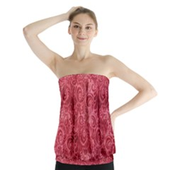 Red Romantic Flower Pattern Strapless Top by Ivana