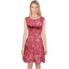 Red Romantic Flower Pattern Capsleeve Midi Dress by Ivana