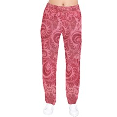 Red Romantic Flower Pattern Velvet Drawstring Pants by Ivana