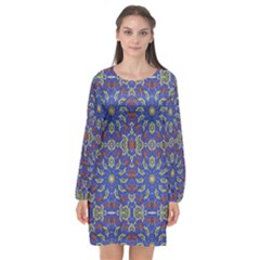 Colorful Ethnic Design Long Sleeve Chiffon Shift Dress  by dflcprintsclothing