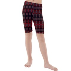 Dark Tiled Pattern Kids  Mid Length Swim Shorts by linceazul