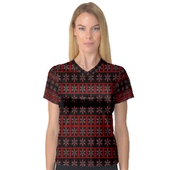 Dark Tiled Pattern Women s V Neck Sport Mesh Tee by linceazul