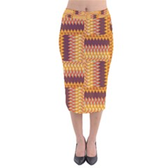 Geometric Pattern Velvet Midi Pencil Skirt by linceazul