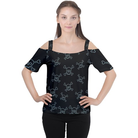 Skull Pattern Women s Cutout Shoulder Tee by ValentinaDesign