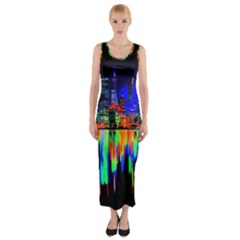 City Panorama Fitted Maxi Dress