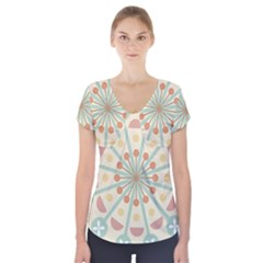 Blue Circle Ornaments Short Sleeve Front Detail Top