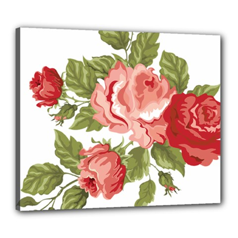 Flower Rose Pink Red Romantic Canvas 24  X 20  by Nexatart