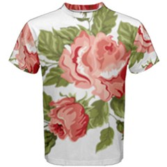 Flower Rose Pink Red Romantic Men s Cotton Tee