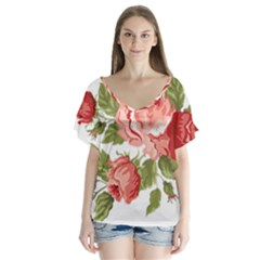 Flower Rose Pink Red Romantic Flutter Sleeve Top by Nexatart