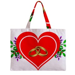 Heart Flowers Ring Zipper Mini Tote Bag