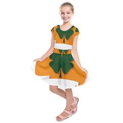 St Patricks Day Ireland Clover Kids  Short Sleeve Dress