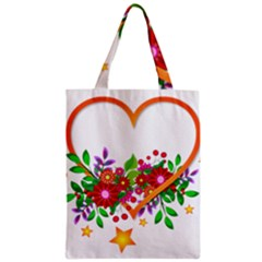 Heart Flowers Sign Zipper Classic Tote Bag by Nexatart