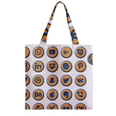 Social Media Icon Icons Social Zipper Grocery Tote Bag by Nexatart