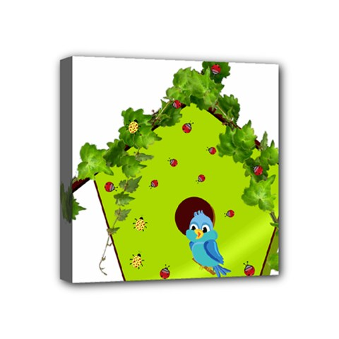Bluebird Bird Birdhouse Avian Mini Canvas 4  X 4