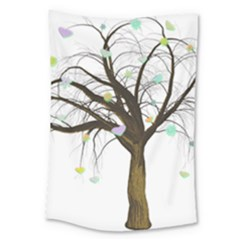 Tree Fantasy Magic Hearts Flowers Large Tapestry by Nexatart