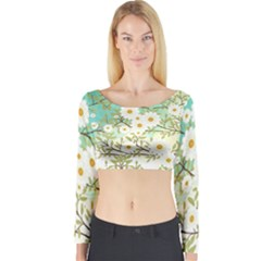 Springtime Scene Long Sleeve Crop Top by linceazul