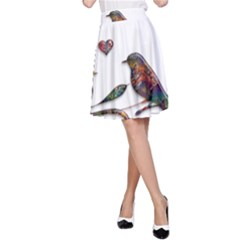 Birds Abstract Exotic Colorful A Line Skirt