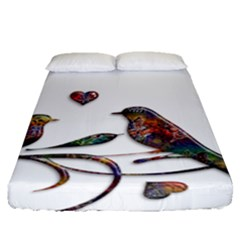 Birds Abstract Exotic Colorful Fitted Sheet (queen Size) by Nexatart