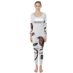 Birds Abstract Exotic Colorful Long Sleeve Catsuit by Nexatart