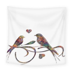 Birds Abstract Exotic Colorful Square Tapestry (large) by Nexatart