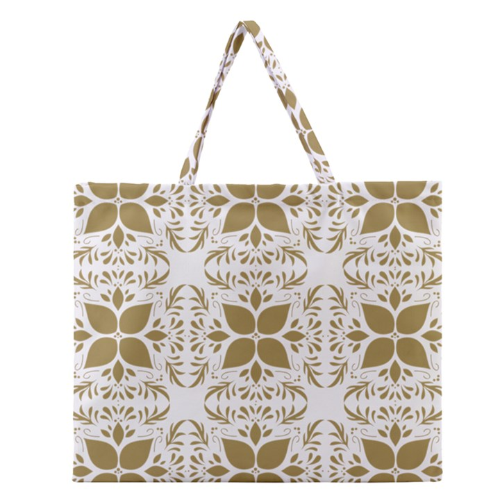 Pattern Gold Floral Texture Design Zipper Large Tote Bag