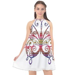Butterfly Nature Abstract Beautiful Halter Neckline Chiffon Dress