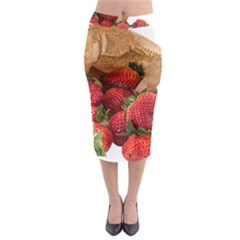 Strawberries Fruit Food Delicious Midi Pencil Skirt by Nexatart
