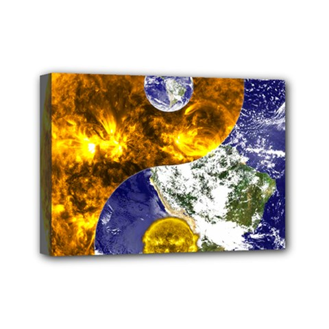 Design Yin Yang Balance Sun Earth Mini Canvas 7  X 5  by Nexatart