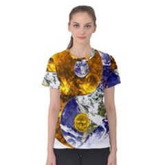 Design Yin Yang Balance Sun Earth Women s Cotton Tee