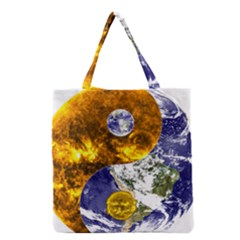 Design Yin Yang Balance Sun Earth Grocery Tote Bag