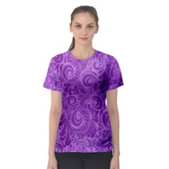 Purple Romantic Flower Pattern Denim Women s Sport Mesh Tee by Ivana