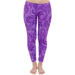 Purple Romantic Flower Pattern Denim Classic Winter Leggings by Ivana