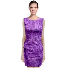 Purple Romantic Flower Pattern Denim Sleeveless Velvet Midi Dress by Ivana