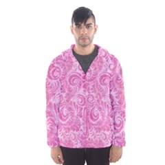 Pink Romantic Flower Pattern Denim Hooded Wind Breaker (men) by Ivana