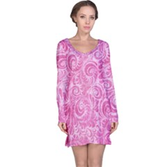 Pink Romantic Flower Pattern Denim Long Sleeve Nightdress by Ivana