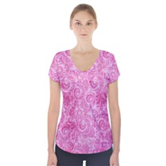 Pink Romantic Flower Pattern Denim Short Sleeve Front Detail Top by Ivana