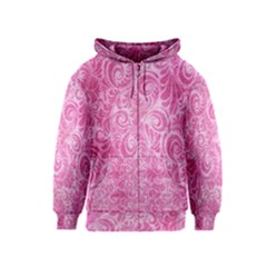 Pink Romantic Flower Pattern Denim Kids  Zipper Hoodie by Ivana